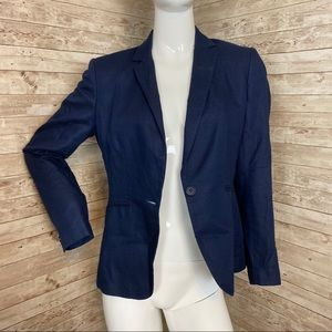 H&M women's navy blue double pocket slim blazer 8